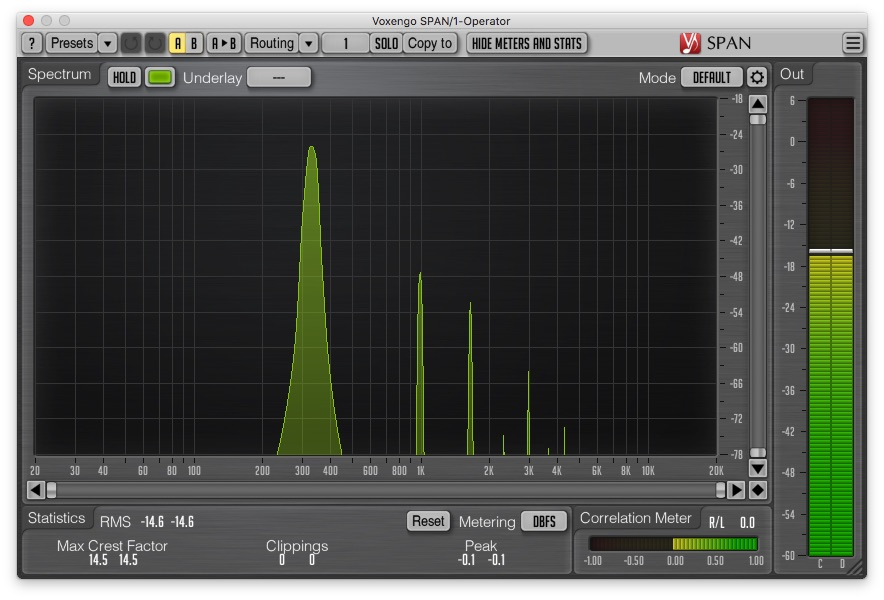 Example of a frequency spectrum of a sine wave with soft clipping